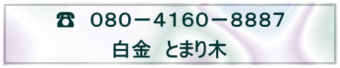 ☎ 080-4160-8887 白金 とまり木